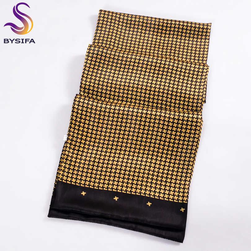 [BYSIFA] Uomini Oro Nero Sciarpe di Seta di Modo di Inverno Accessori 100% Naturale di Seta di Sesso Maschile Plaid Lunghe Sciarpe Cravatta 160*26 centimetri