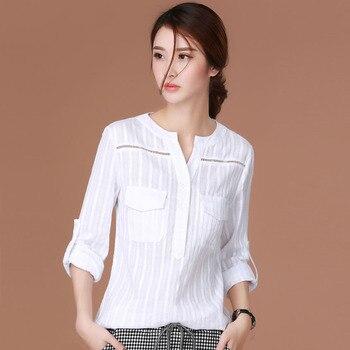 Blusa blanca para mujer, blusas de algodón, tops de mujer, Blusa de manga larga, camisas de mujer, blusas de moda 2018