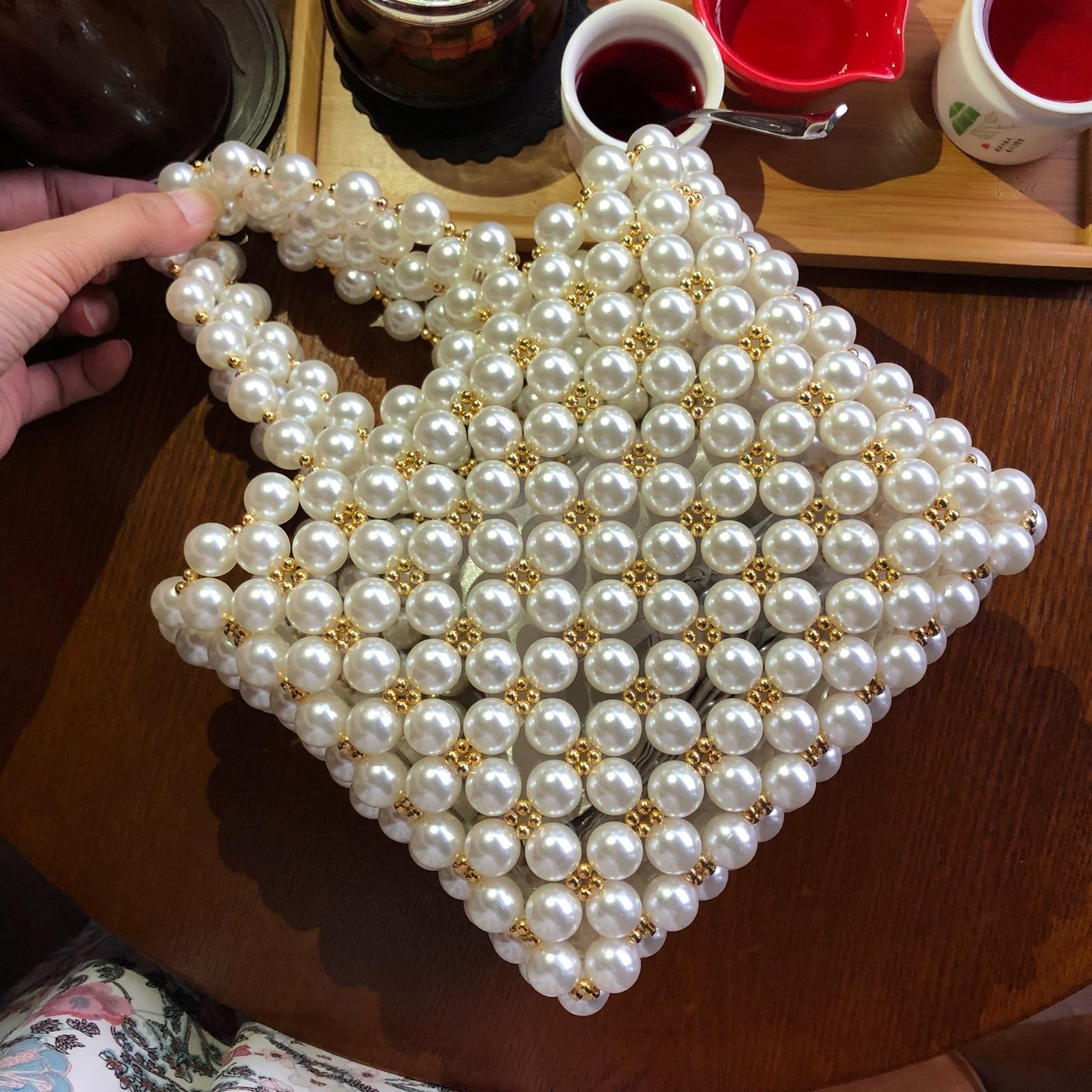 2018 Designer Marque Conception de Niche Le Même Paragraphe Perle Lourd Perles en métal Sac À Main luis vuitton gg sac bolsa feminina vs rose