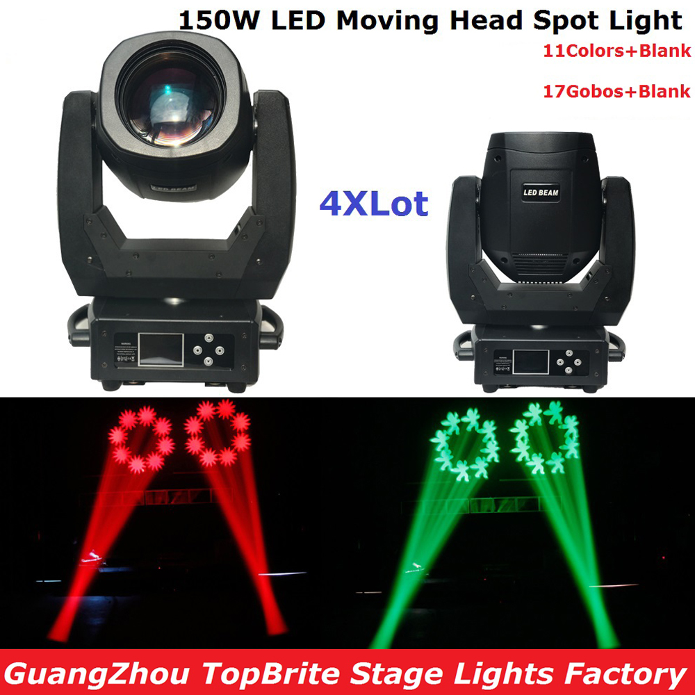 4XLot  New 150W Led Moving Head Light DMX 13Chs, High Power 150W Spot Beam Moving Head Lights For Party Wedding Event Lighting 2xlot led moving head spot lights 330w led lamp high power professional led moving head light lcd display 5 35 motorized focus