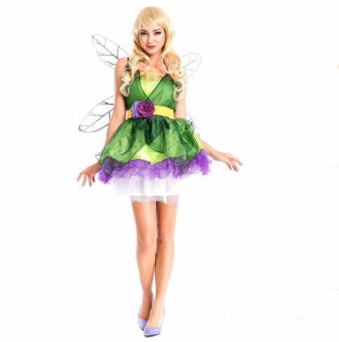 Adult Women Tinker Bell Dress Cosplay Costume Tinkerbell Dresses Green Fairy Pixie