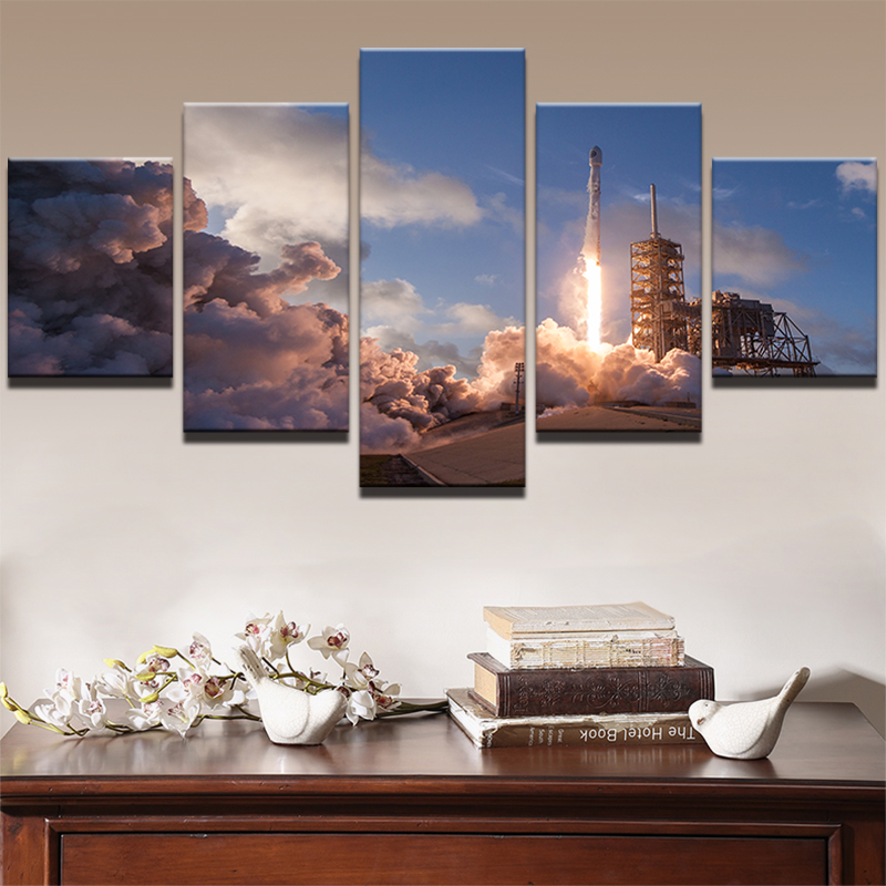 High Quality Canvas Painting Living Room Wall Poster 5 Panel Falcon 9 Frames In Modular Print Cuadros Decoration Pictures