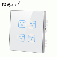 New eleglant 4 gangs 2 way White touch light wall switch Free Customize LED Touch Micro switch Work for any lamps Free Shipping new arrival 2 gangs 1 way crystal glass led black diy touch light wall switch touch switch free customize words free shipping