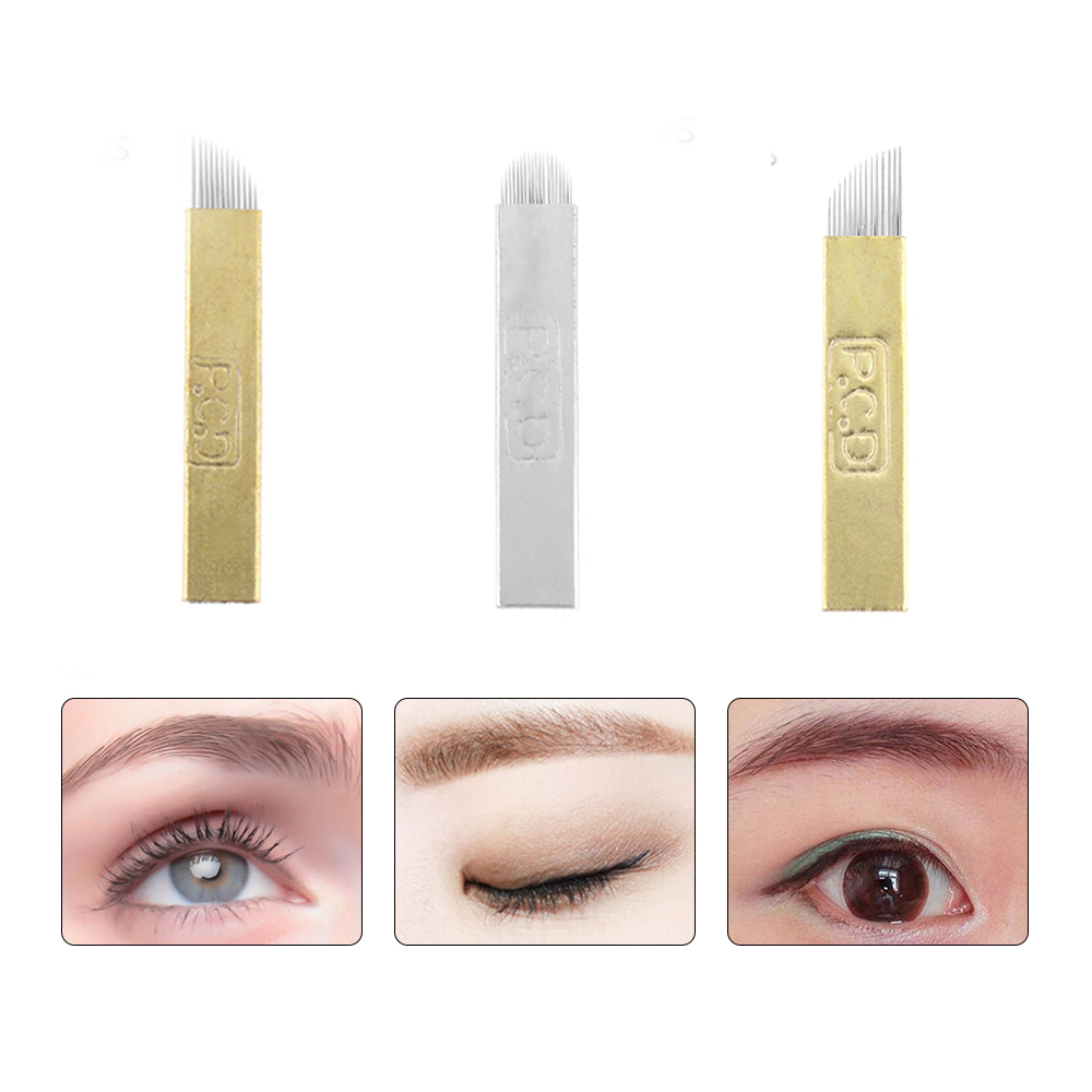 купить 5Pc/Set Pro 12/14/19 Pins Permanent Makeup Eyebrow Tattoo Blade Microblading Needles For 3D Embroidery Manual Tattoo Pen недорого