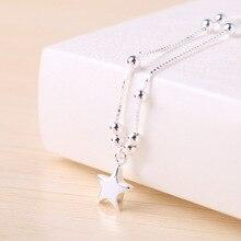 Verano nueva Plata S925 Tobilleras de Plata Para El Tobillo Tobillera pequeña perla estrellas de Corea moda al por mayor