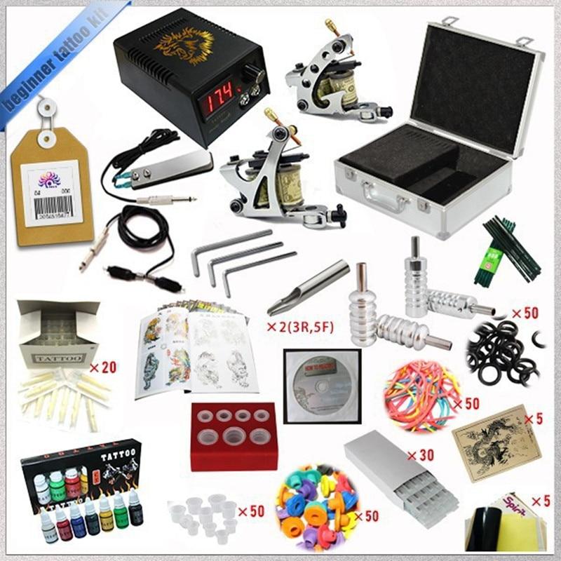 ФОТО Complete Tattoo Kits 2 Tattoo Machines Gun7 Colors Tattoo Inks Needles Grip Sets Beginner Tattoo Kit TTKS-031