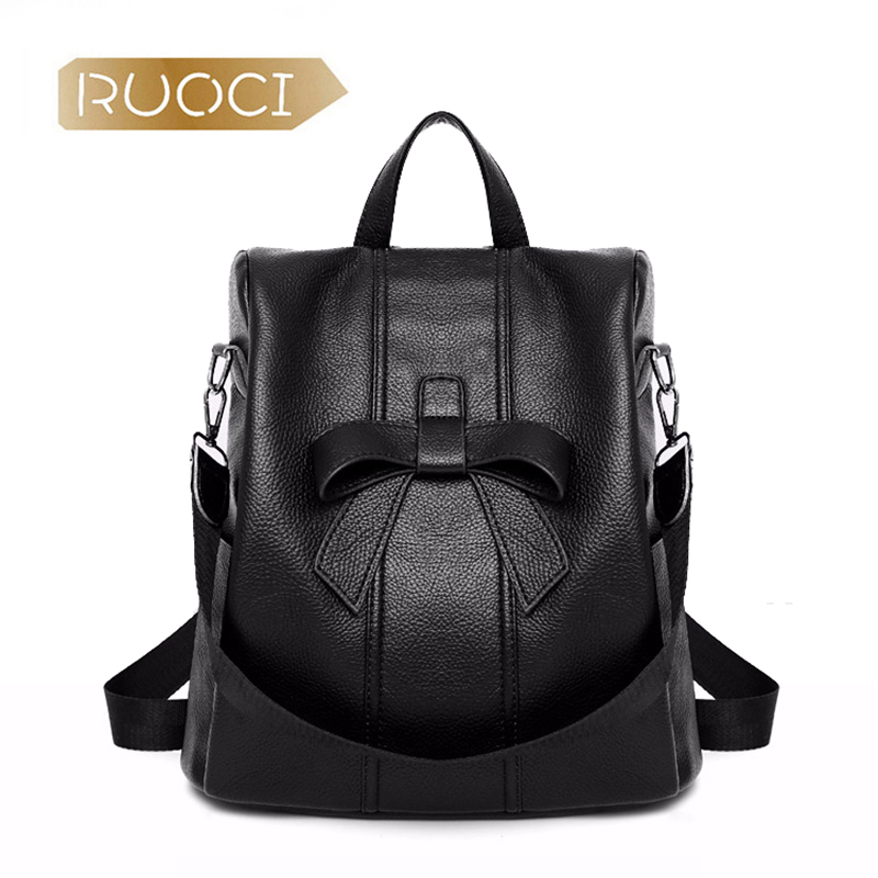 RUOCI 2018 New Bow Black Backpacks Women Solid Fashion Zipper Shoulder Bag Girls Student School Bags Ladies Travel Brand Backbag