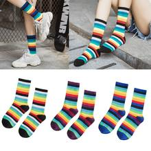 Women Unisex Autumn Vertical Ribbed Knitted Mid-Calf Long Ankle Socks Cotton Colorful Rainbow Striped Printed Loose Hosiery Stre(China)