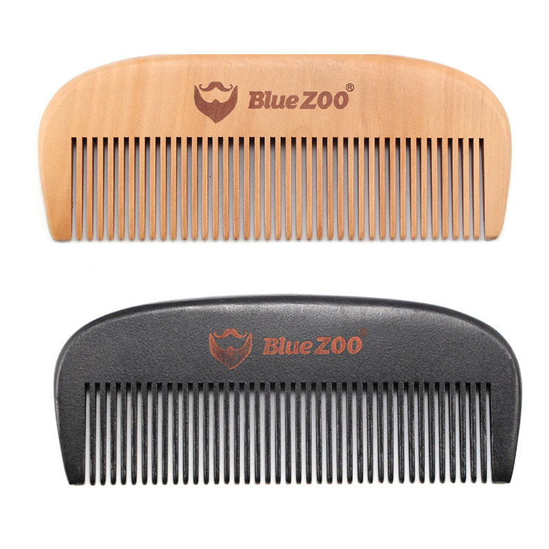 Blue Zoo Pocket Portable Natural Wood Pear Tree Comb Combs No Static Beard Comb Hair Styling Tool image