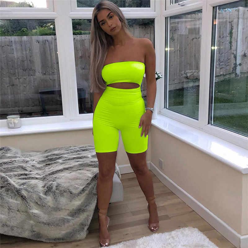 Криптографических неоновый зеленый флуоресцентный Мода с плеча повседневные Костюмы пляжного стиля вырез сексуальный комбинезон для женщин 2019 Эластичный тела