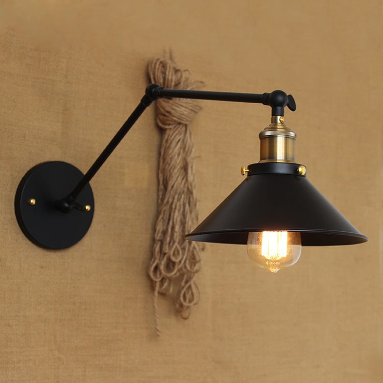 American country pastoral style minimalist matte black bedside lighting aisle aisle warehouse bar RH long arm Wall