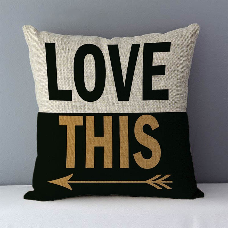 """HTB1sq5HXdfvK1RjSspoq6zfNpXaV Popular phrase words letters printed couch cushion home decorative pillows 45x45cm cotton linen square cushions """"Love you more"""""""