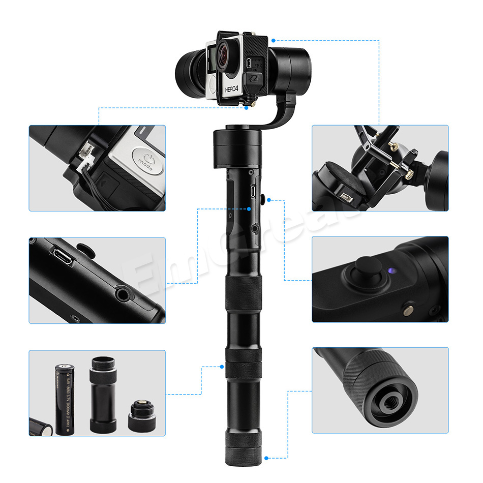 Zhiyun Z1 Evolution 3-Axis Handheld Stabilizer Gimbal for GoPro Hero 4 Gopro Hero 5 XiaoYi / Extra Monitor Camera Mounting Kit [hk stock][official international version] xiaoyi yi 3 axis handheld gimbal stabilizer yi 4k action camera kit ambarella a9se75 sony imx377 12mp 155‎ degree 1400mah eis ldc sport camera black