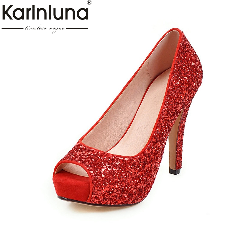 цена на KARINLUNA Big Size 34-43 Peep Toe Platform Women Shoes Woman Sexy Bling Upper Red Black Silver High Heels Party Wedding Pumps