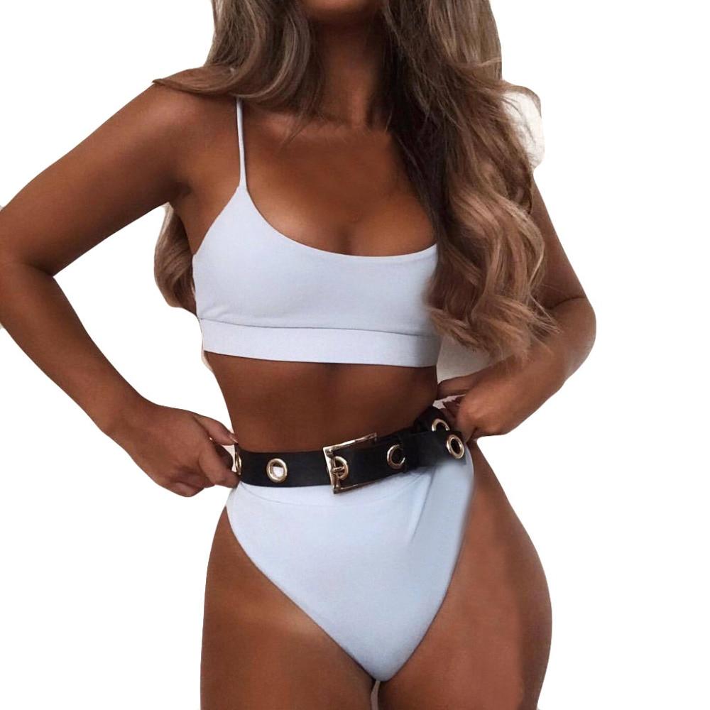 Women Pure Color Fashion Push-Up Padded Bra Beach Bikini Set Swimsuit Swimwear set beach 2019 mujer swimwear striped swimwear
