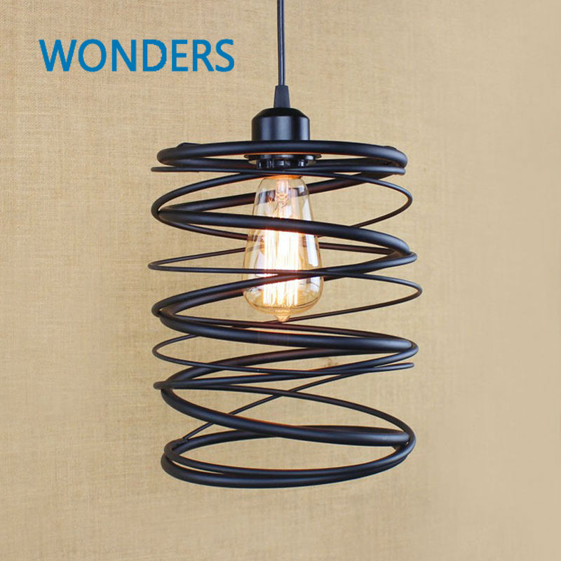 American art Creative Retro vintage pendant lights spring iron hanging pendant lamp indoor iron black pendant lamp light american countryside industrial retro bar table pendant lights indoor iron black pendant lamp light e27 110v 220v