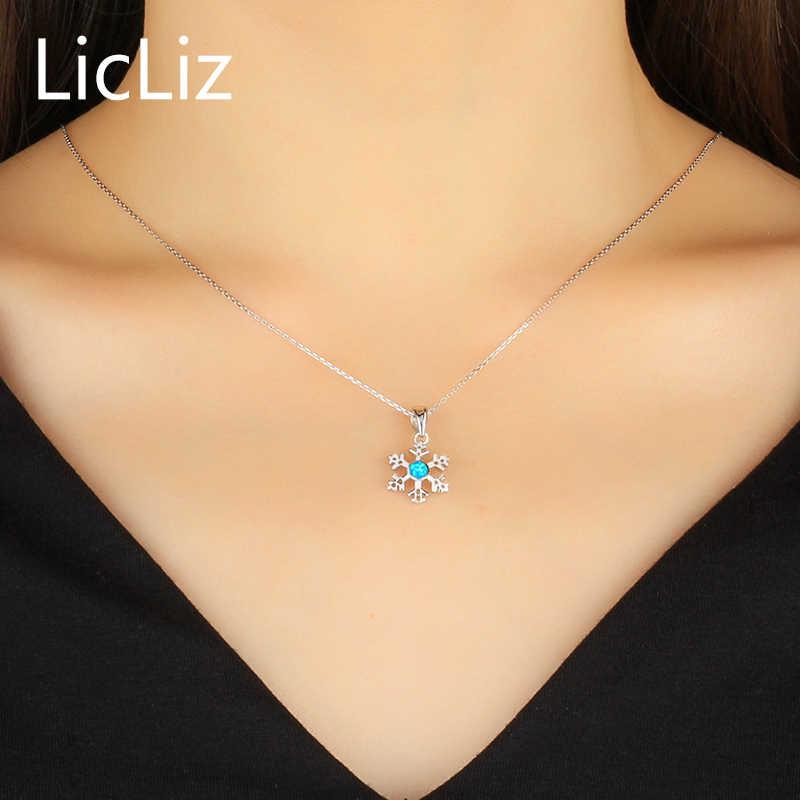 LicLiz 925 argent Sterling naturel bleu opale flocon de neige pendentif colliers pour femmes fleur or blanc bijoux bricolage pendentifs LP0211