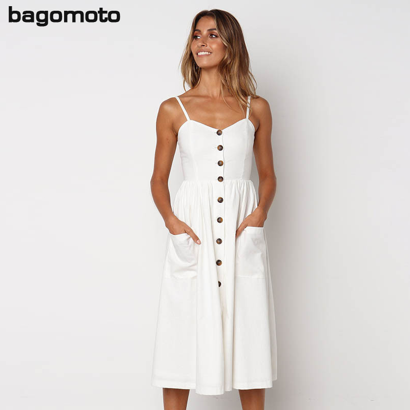 Summer Floral Bohemian Beach Dress Women 2018 Vintage Single-Breasted Bandage Party Dress Sexy White Black Red Striped Plus Size