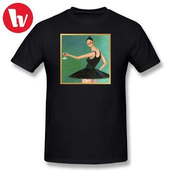 Kanye West T Shirt MBDTF Ballerina T-Shirt Men Cartoon Print Summer Mens Short Sleeve Shirts 4XL 5XL Graphic Music Tee - discount item  42% OFF Tops & Tees