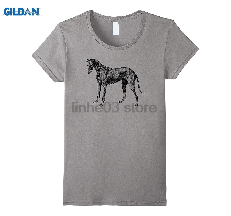 GILDAN Mintage Greyhound Etching T-Shirt summer dress T-shirt