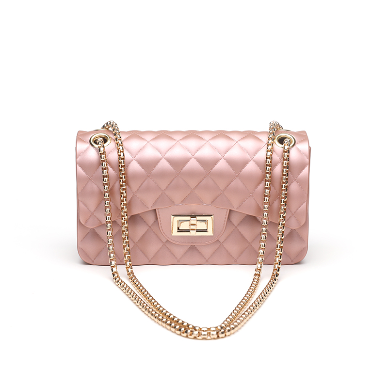 Silica Gel Female Mini Chain Jelly Bag Women Diamond Lattice Small Flap Bag Girl Casual Clutch Silicone Bag Shoulder Bags