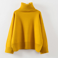 Thick High Neck Sweaters Women 2018 Winter Warm Pullovers Side Vent Slit Loose Jumper Female Oversize Turtleneck Sweaters QH0826