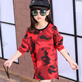 Kids Girls long-sleeved T-shirt camouflage 2017new baby girls' clothing fashion spring and autumn big virgin base shirt