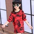 Kids Girls long-sleeved T-shirt camouflage 2017new baby girls' clothing fashion spring and autumn big virgin base shirt