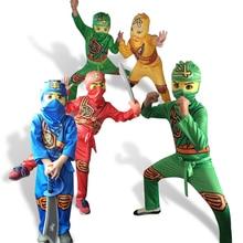Купить с кэшбэком Ninjago Cosplay Costume Boys Costumes Children Halloween Fancy Party Dress Up Costume Kids Ninja Cosplay Superhero Jumpsuits Set