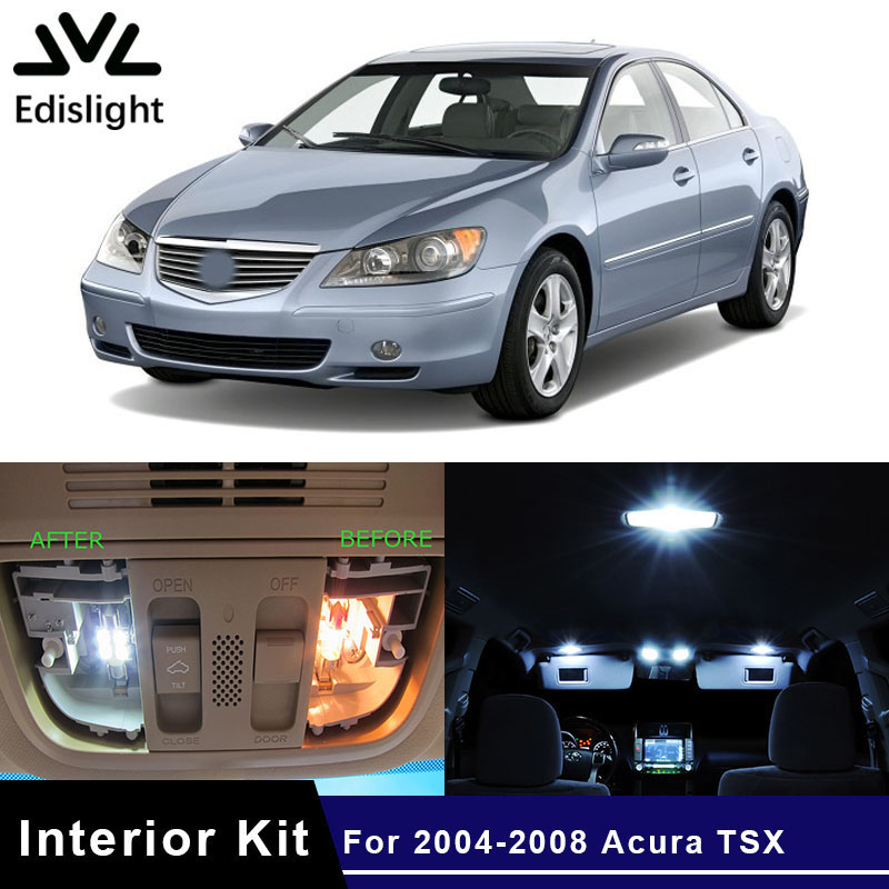 Edislight 10pc White Ice Blue Car LED Light Interior Bulbs