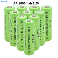 10Pcs AA battery 1000mAh 1.2V NICD Rechargeable Batteries 2A NI-CD button top batteries