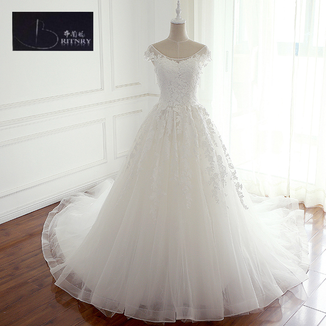 197f97fe6bd4 BRITNRY Modest Vintage Wedding Dress Cap Sleeves Lace Covered Back Puffy A Line  Wedding Dresses Plus Size