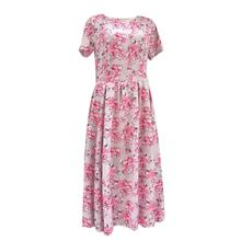 2019Fashion Women Floral Printing  O Neck Short Sleeve Knee-Length Dress