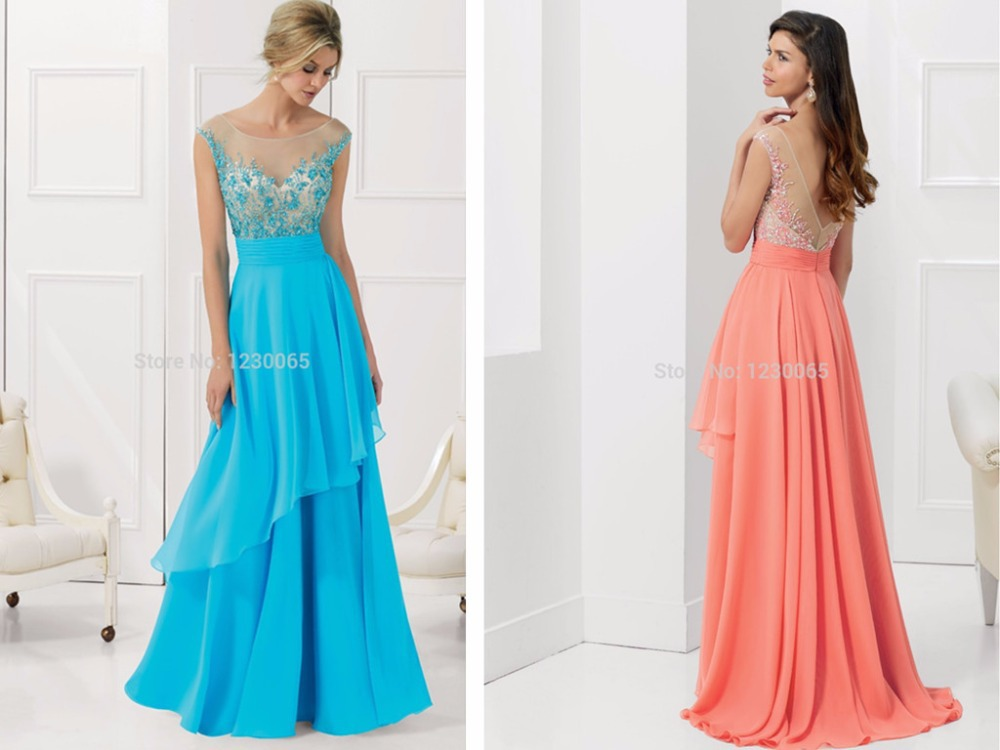 New 2018 Sexy Backless Long Elegant Coral Color chiffon Beaded Top Cheap Pageant Women Floor Length prom gown   bridesmaid     dresses