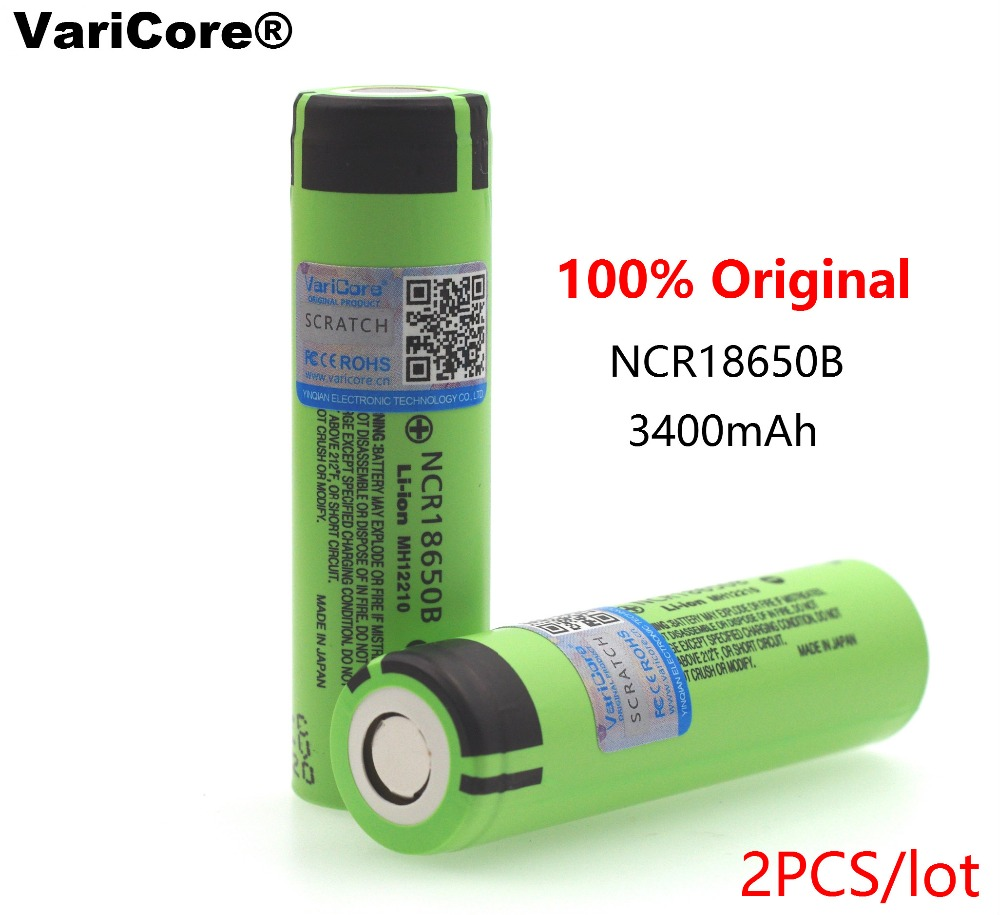 2PCS VariCore 100% New Original 18650 NCR18650B 3400mAh 3.7V Li-ion Rechargeable battery For Panasonic Flashlight Power Bank use panasonic ncr18650b super max 3 7v 3400mah rechargeable li ion battery black green