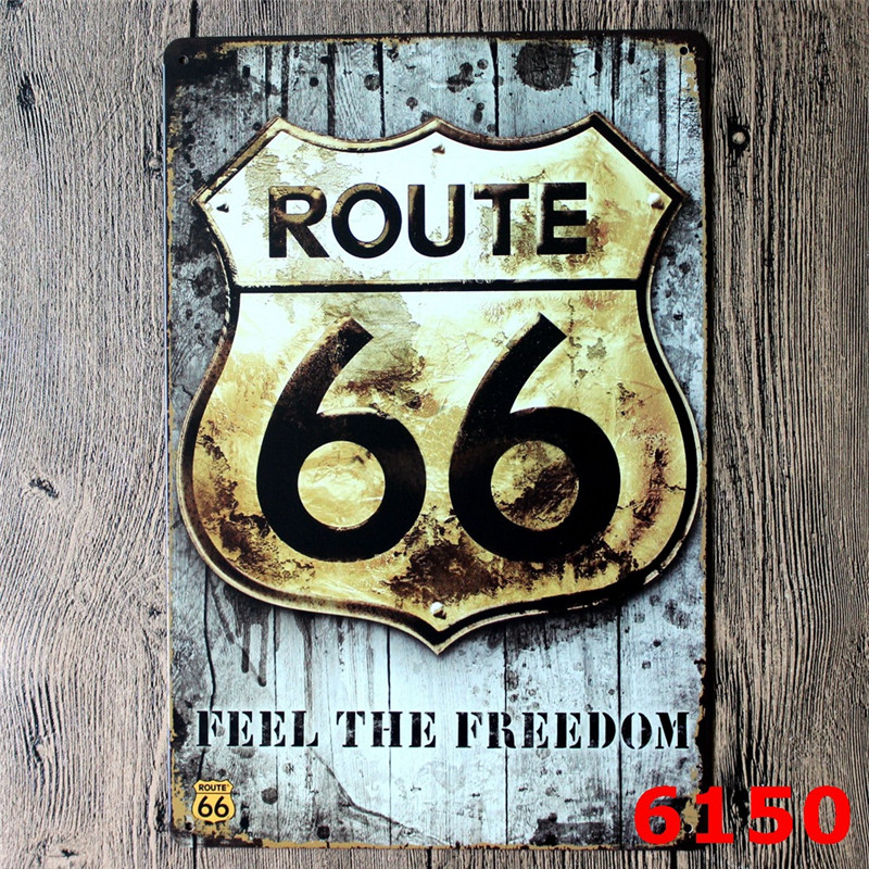 Route 66 Metal Signs Vintage Home Decor Bar Pub Decorative Metal Plates Retro Sheet Tin Sign Posters Wall Decor Painting-in Plaques u0026 Signs from Home ... : antique tin plates - pezcame.com