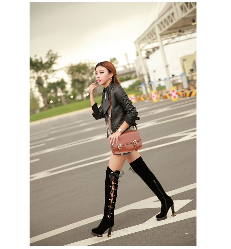 56 2016 Trend New Autumn And Winter Knee-length Womens Boots Thick High-heeled Scrub Boot Classic Round Lace With Women Shoes