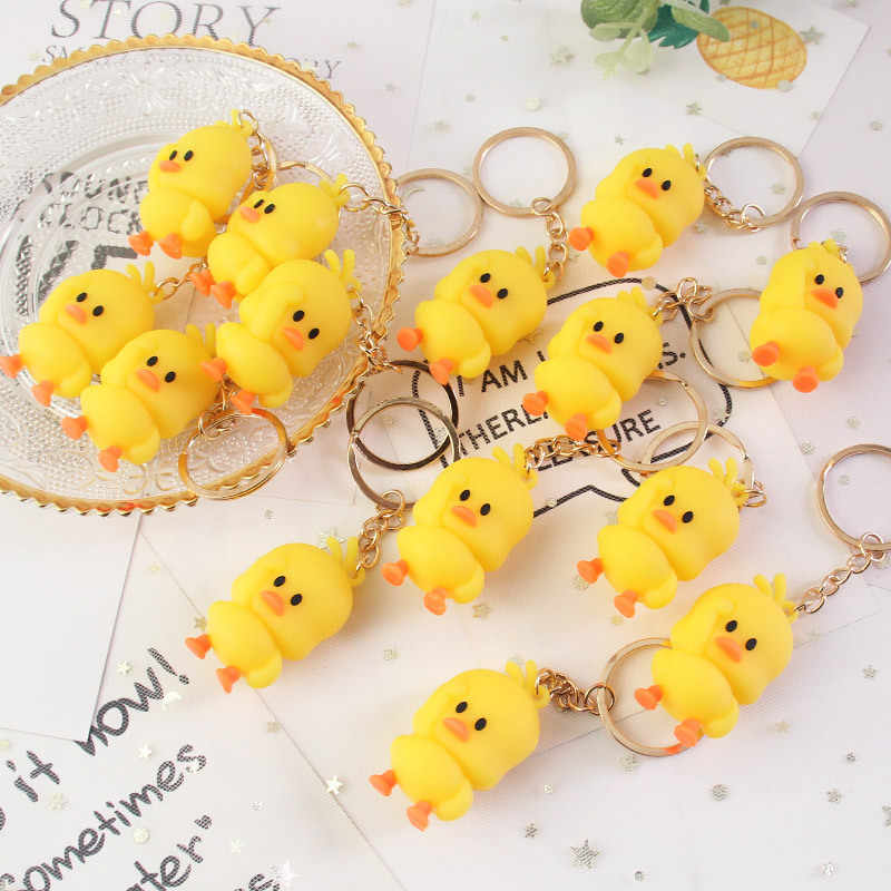 2019 Hot Sale New Fashion Cute Yellow Fur Soft Chicken Duck Key chain For Unisex Animal Bag Car Key Ring