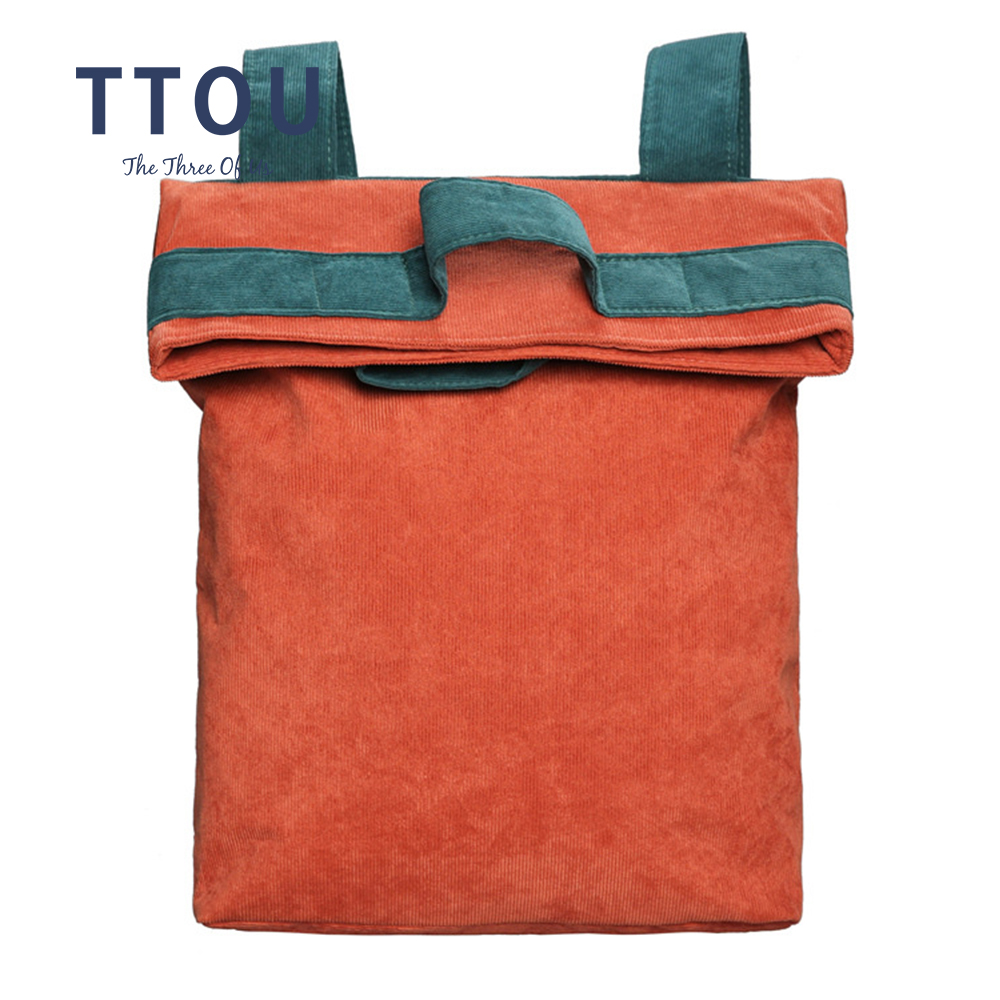 TTOU Women Fold Over Backpack Fashion Corduroy Female Patchwork School Panelled Travel Bag for Girls