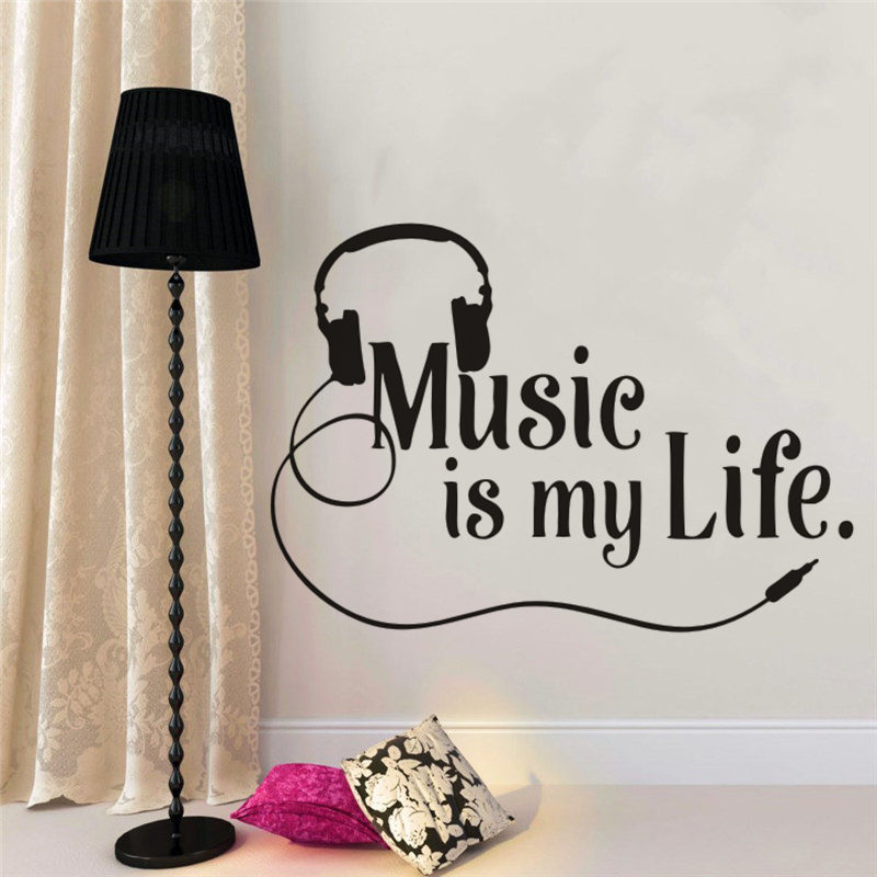 . US  4 85 26  OFF Musical Wall Decal Sing Lovers Wall Decal Quote Vinyl Wall  Sticker Teen Boys Room Modern Music Wall Mural Home Decor AY1270 in Wall