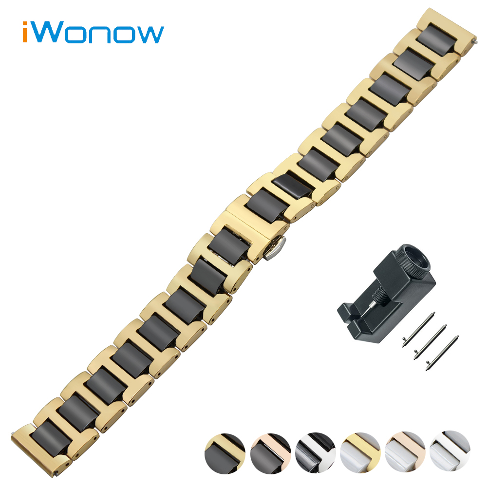 Ceramic + Stainless Steel Watch Band 18mm 20mm 22mm Universal Watchband Quick Release Strap Butterfly Buckle Wrist Belt Bracelet 20 20 45 100 of 4 flutes flat end mills carbide end milling tungsten knife cnc machine tools mill cutter