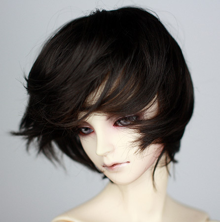 Natural <font><b>brown</b></font> and black microcoils Imitation mohair short hairs available for <font><b>1/3</b></font> 1/4 <font><b>BJD</b></font> SD DD uncle doll <font><b>wigs</b></font> image