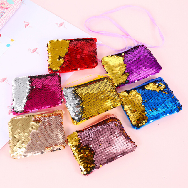 New Fashion Mermaid Sequins Coin Purse Wallet Kids Girl Glittering Purse Women Handbag Party Zipper Clutch Bag Earphone Package Coin Purses & Holders