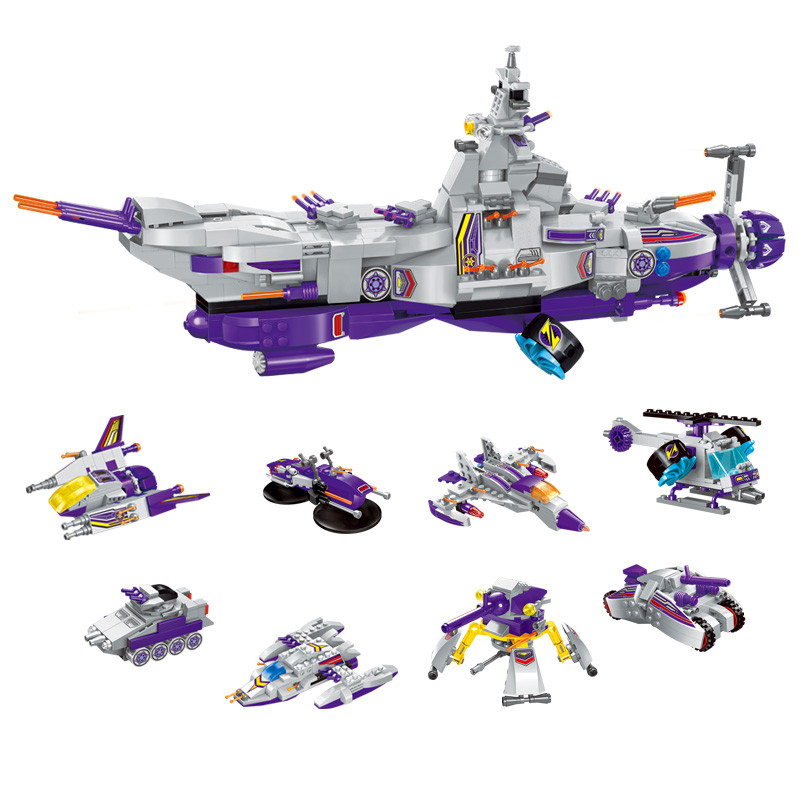 8 IN 1 Aircraft Carrier Airplane Ship Tank Building Blocks 683Pcs Enlighten Military Educational Action Figure Toys For Children aircraft carrier ship military army model building blocks compatible with legoelie playmobil educational toys for children b0388