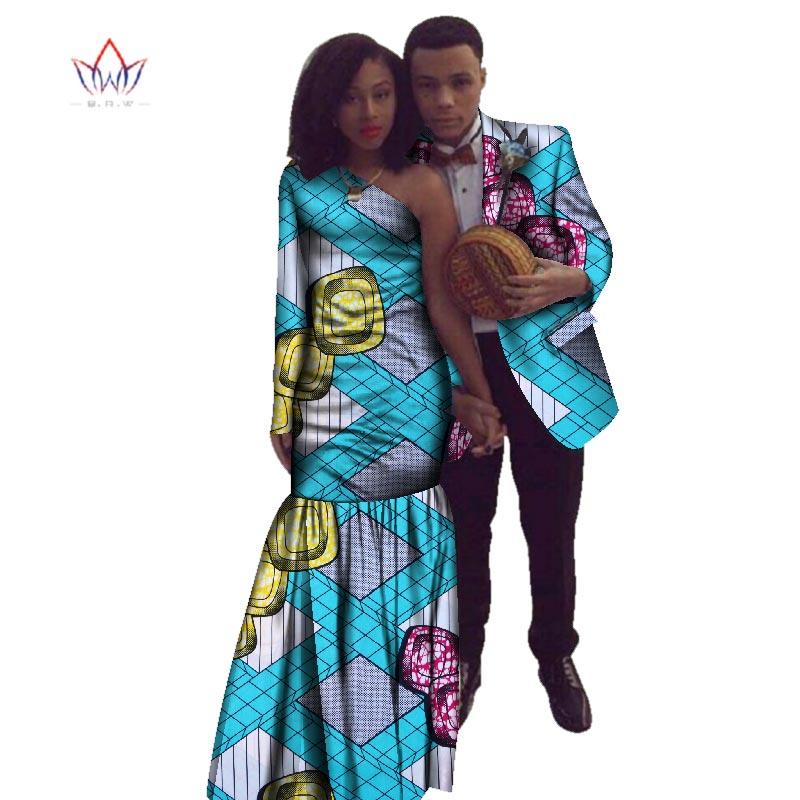 2018 nouvel an africain Dashiki pour les femmes automne robe Bazin Riche hommes costume sirène fête Vestidos grande taille coton 4xl BRW WYQ17 - 2