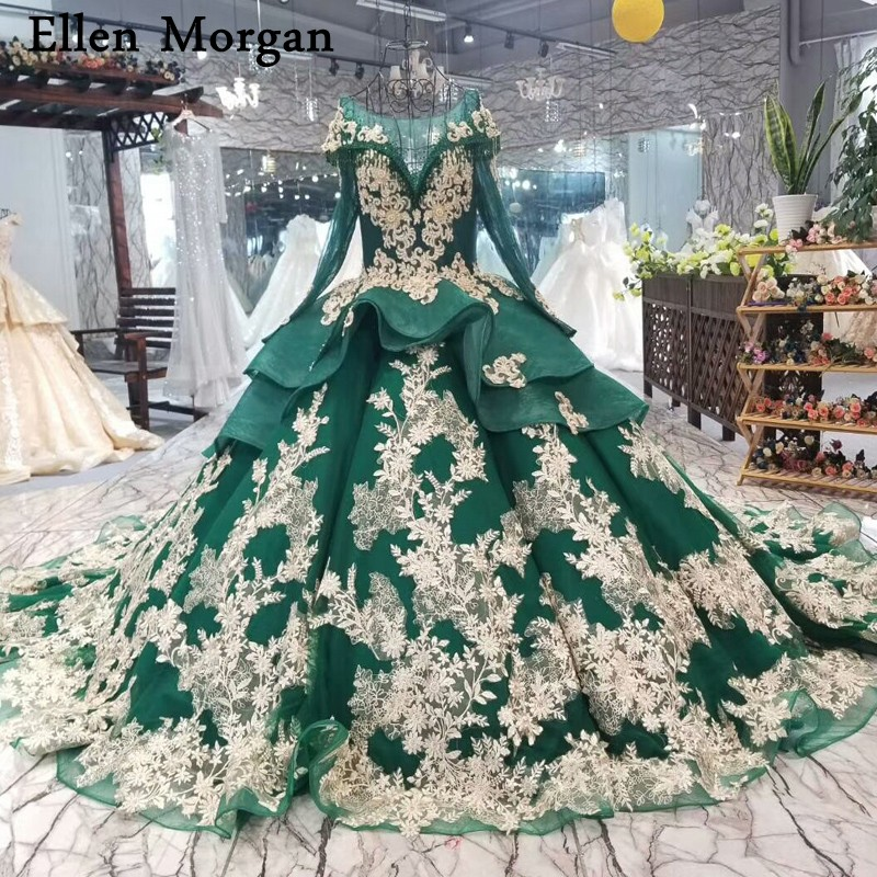 Dark Green Long Sleeves Wedding Dresses 2019 Custom Made Chapel Train Gold Lace Beaded Embroidery Princess Vintage Bridal Gowns