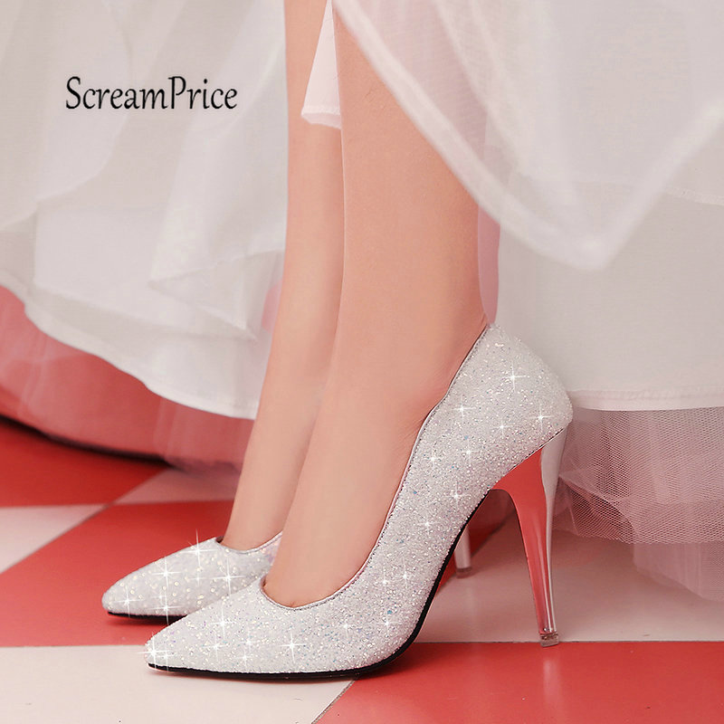 Plus Size 43 Women Fashion Sequined Cloth High Heel Sexy Thin Heel Party Wedding Pumps Shoes White Black Pink alfani new bright white sequined chevron print blouse women s size xs $69 384