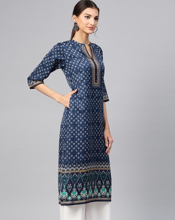 2019 New Style India Fashion Woman Ethnic Styles Printing Cotton Kurtas Travel Dance Clothing Beautiful Blue Lady Long Top