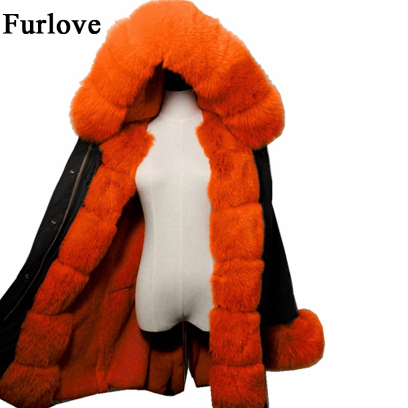 Thick Warm Jackets Long Winter Jacket Women Big Size Real Fox Fur Collar Hooded Parkas True Rabbit Fur Parka Casual Woman Coat large size winter parkas women hooded jacket coats korean loose thick big fur collar down long overcoat casual warm lady jackets