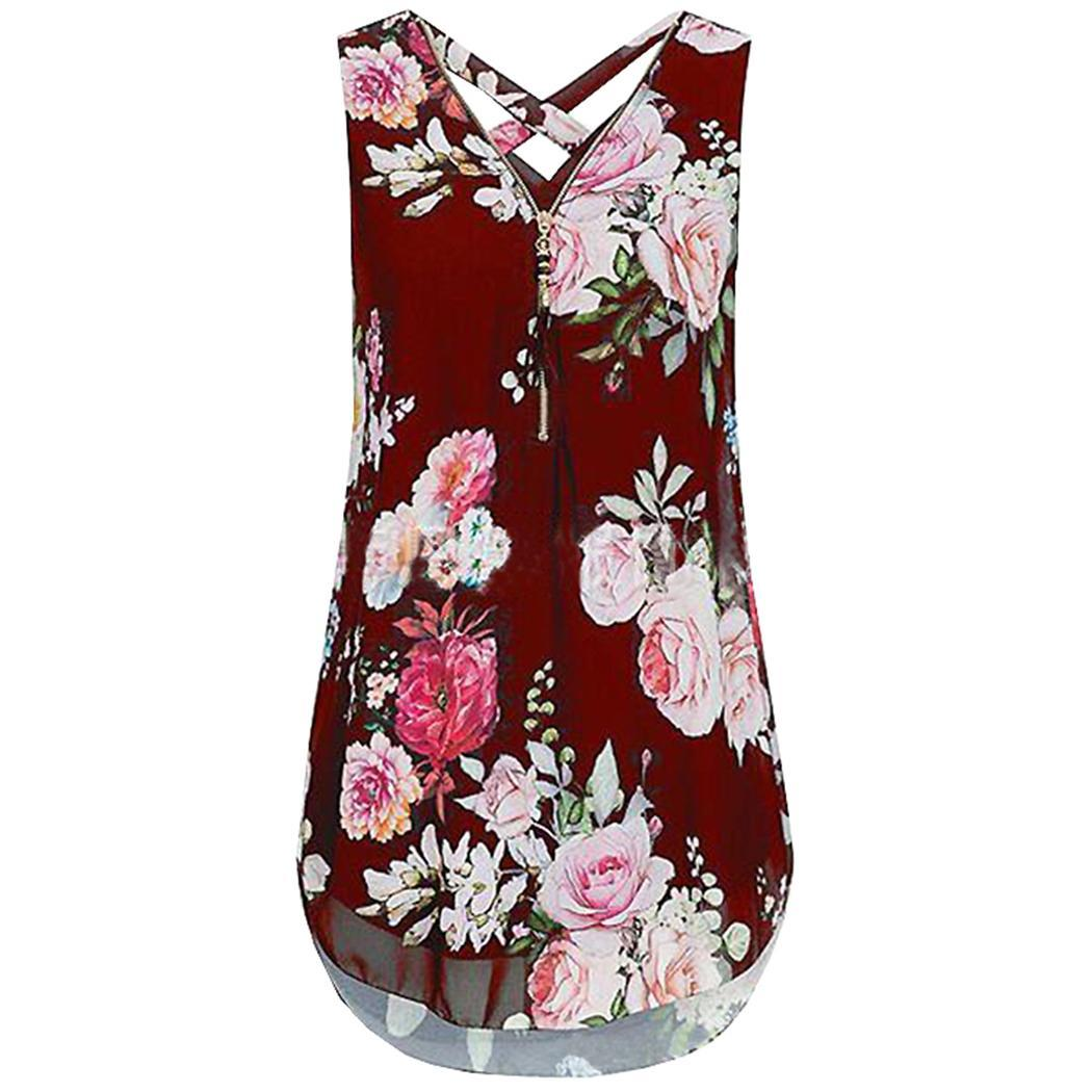 Women V-neck Printed Chiffon Blouse Sleeveless Floral  Fashion Neck Zipper Cross Tank Slim Casual Top(China)